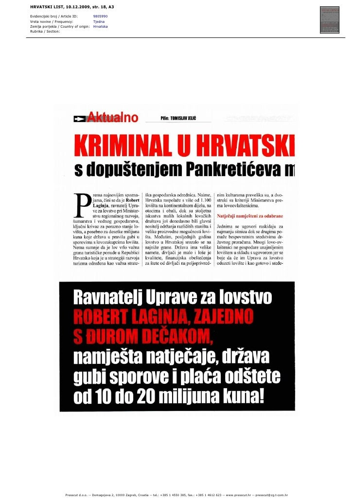 HRVATSKI LIST, 10.12.2009, str. 18, A3  Evidencijski broj / Article ID:       9805990 Vrsta novine / Frequency:           ...