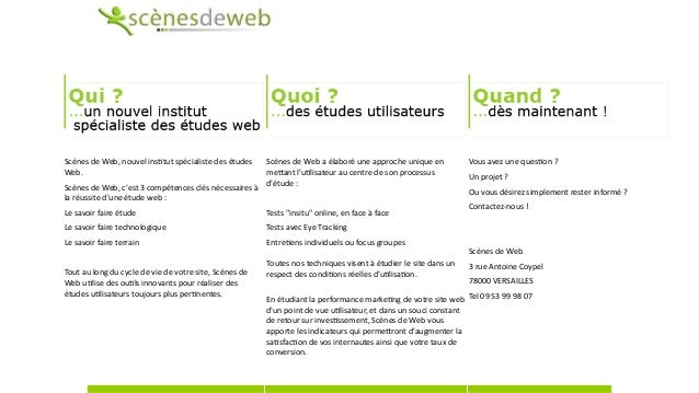 ScènesdeWeb,nouvelins1tutspécialistedesétudes Web. ScènesdeWeb,c'est3compétencesclésnécessairesà laréuss...
