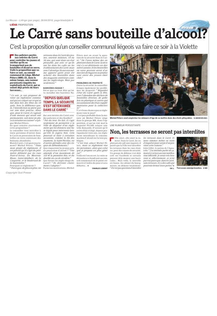 La Meuse - LiA¤ge (par page), 26/04/2010, page/bladzijde 9    LIÈGE PROPOSITION       Le Carré sans bouteille d'alcool?   ...