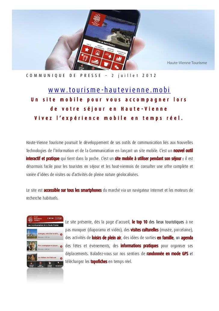 Communiqué de presse site mobile juin 2012