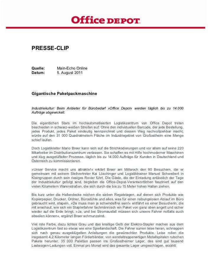PRESSE-CLIPQuelle:        Main-Echo OnlineDatum:         5. August 2011Gigantische PaketpackmaschineIndustriekultur: Beim ...