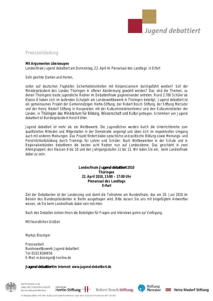 PresseeinladungMit Argumenten überzeugenLandesfinale Jugend debattiert am Donnerstag, 22. April im Plenarsaal des Landtags...