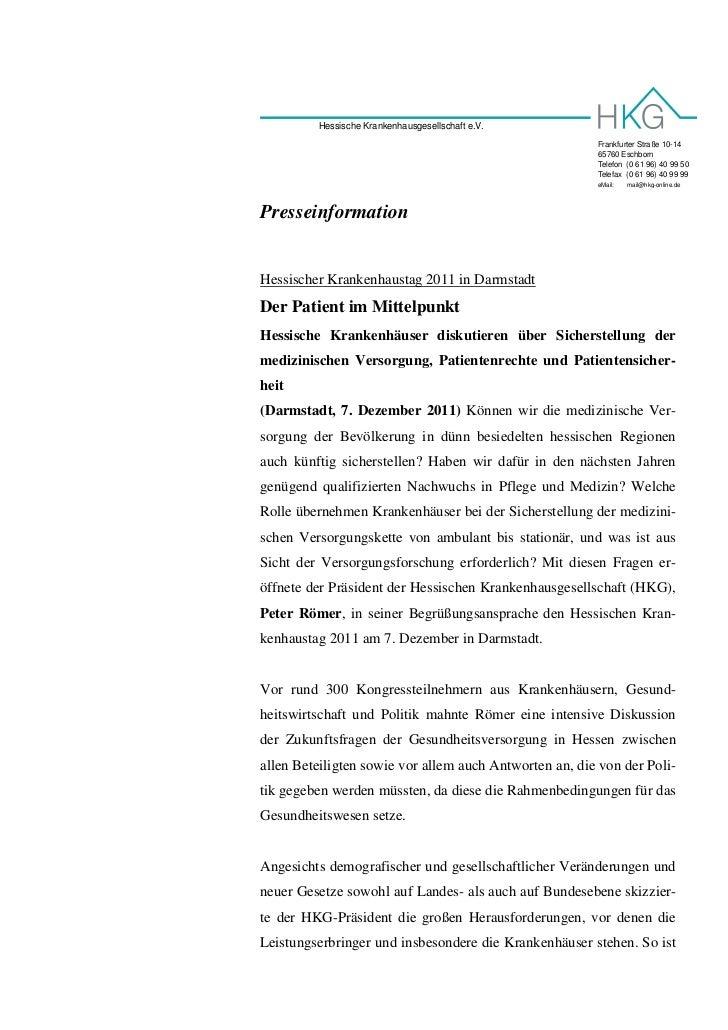 Hessische Krankenhausgesellschaft e.V.                                                        Frankfurter Straße 10-14    ...