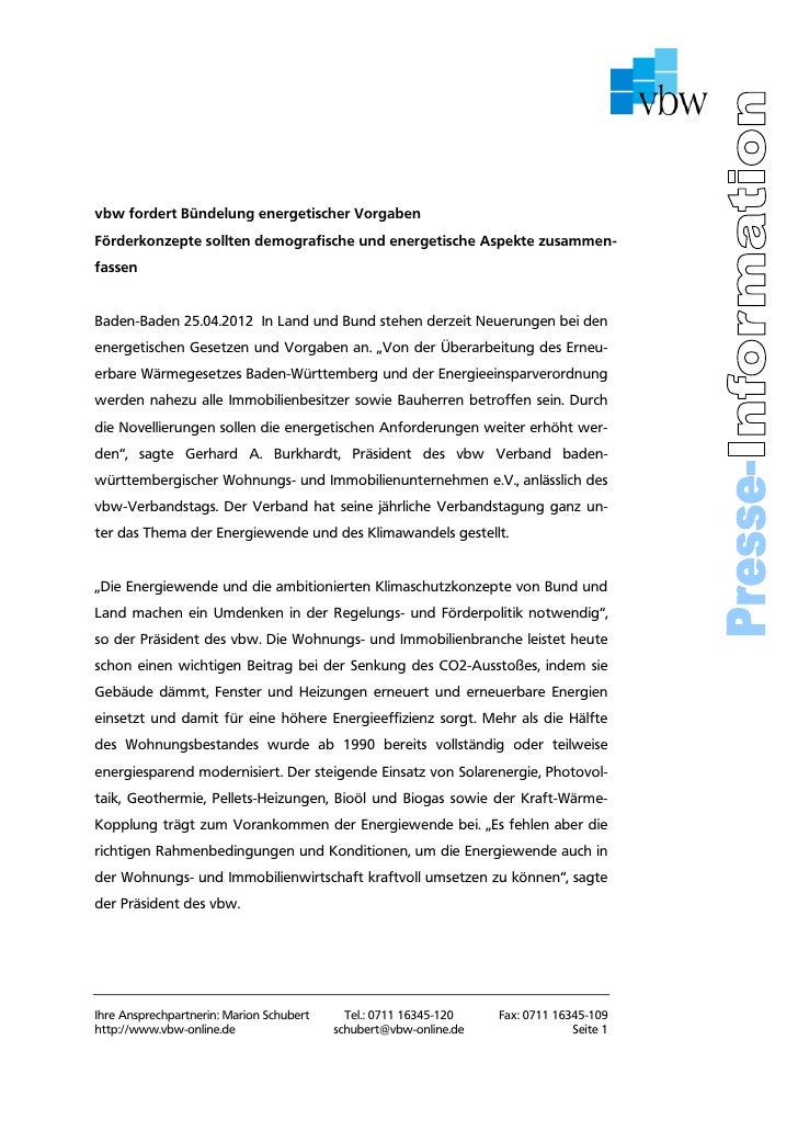 vbw fordert Bündelung energetischer VorgabenFörderkonzepte sollten demografische und energetische Aspekte zusammen-fassenB...
