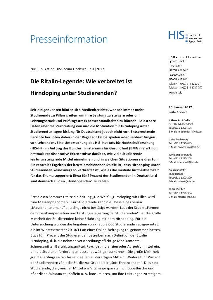 Zur Publikation HIS:Forum Hochschule 1|2012:Die Ritalin-Legende: Wie verbreitet istHirndoping unter Studierenden?         ...