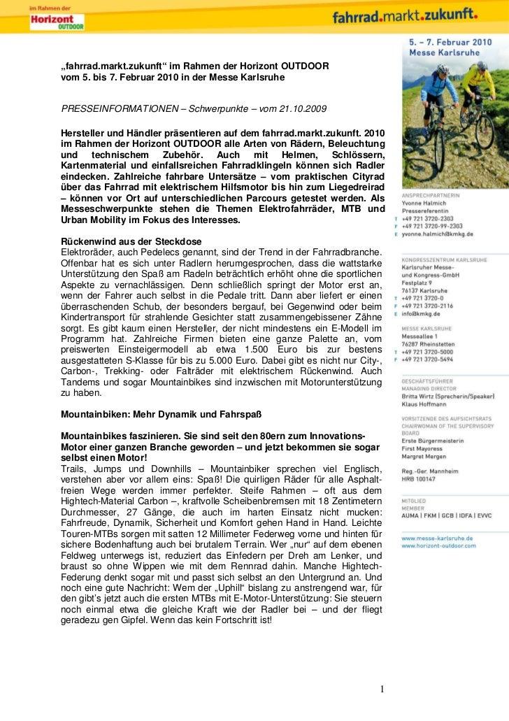 """""""fahrrad.markt.zukunft"""" im Rahmen der Horizont OUTDOORvom 5. bis 7. Februar 2010 in der Messe KarlsruhePRESSEINFORMATIONEN..."""