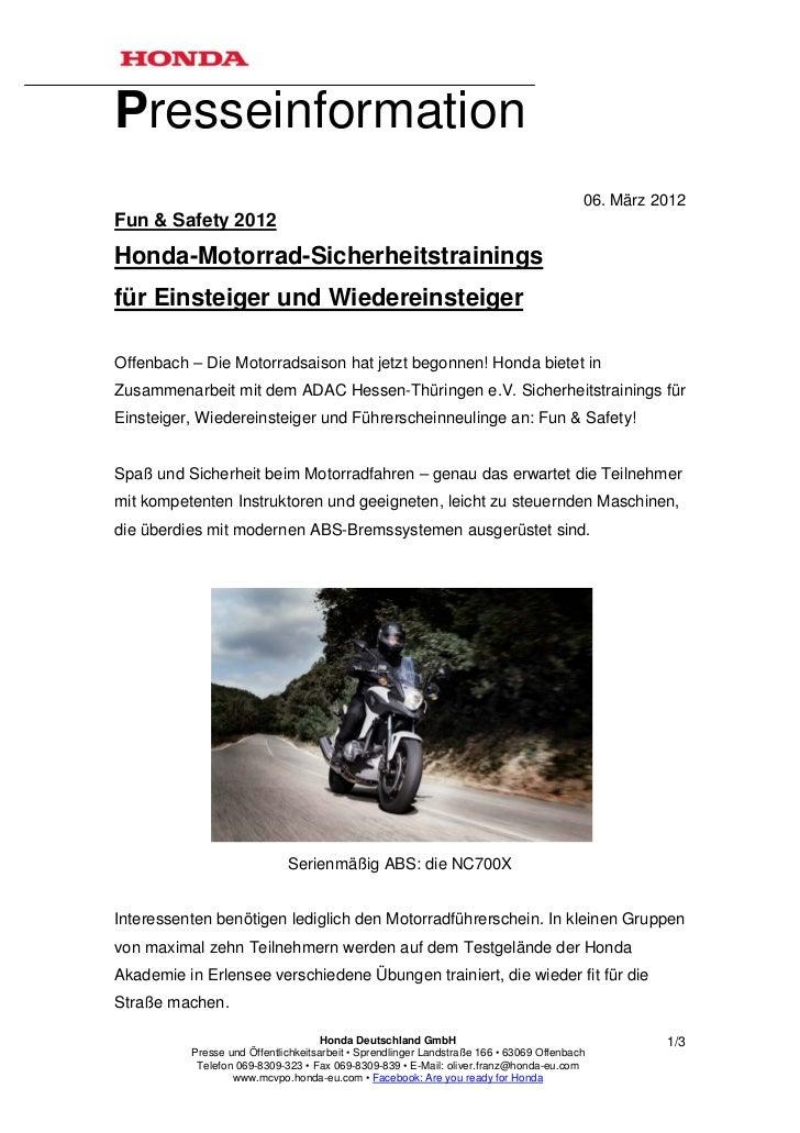 Presseinformation                                                                                         06. März 2012Fun...