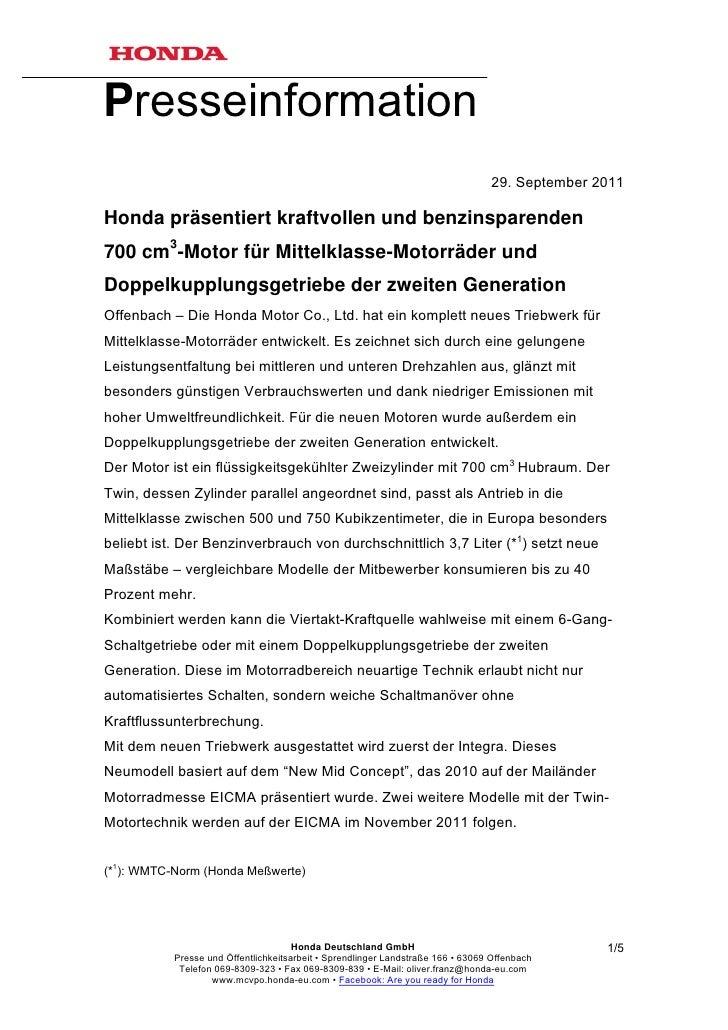 Presseinformation                                                                                 29. September 2011Honda ...