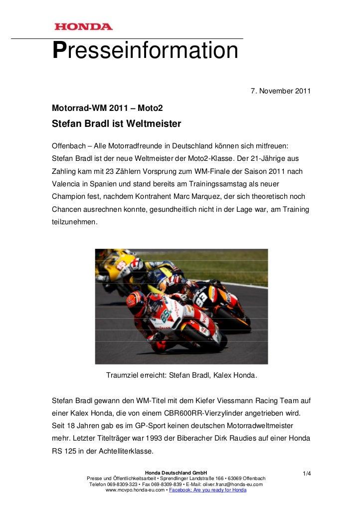 Presseinformation                                                                                    7. November 2011Motor...