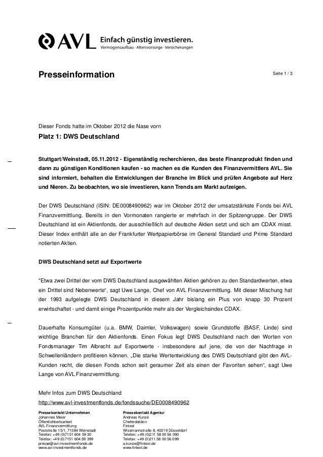 Presseinformation                                                                            Seite 1 / 3Dieser Fonds hatte...