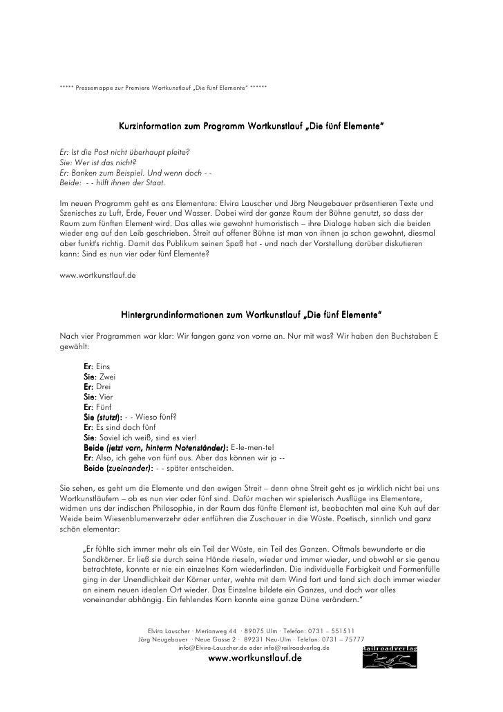 """***** Pressemappe zur Premiere Wortkunstlauf """"Die fünf Elemente"""" ******                    Kurzinformation zum Programm Wo..."""