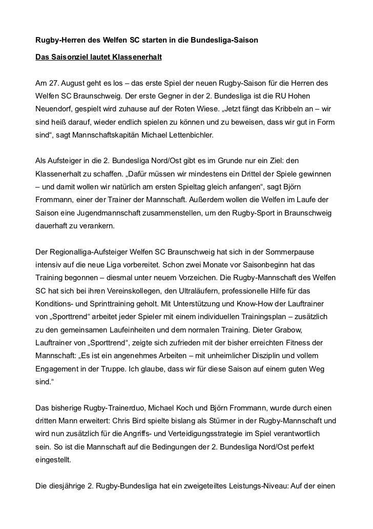 Rugby-Herren des Welfen SC starten in die Bundesliga-SaisonDas Saisonziel lautet KlassenerhaltAm 27. August geht es los – ...