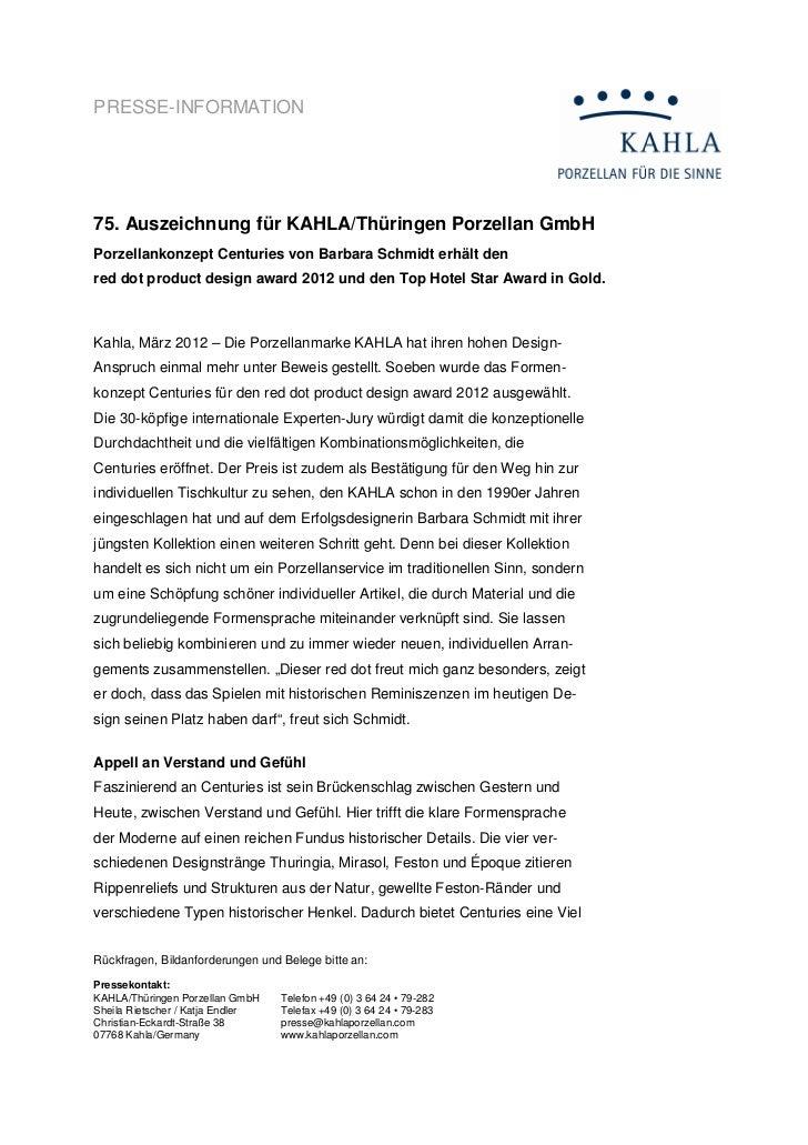PRESSE-INFORMATION75. Auszeichnung für KAHLA/Thüringen Porzellan GmbHPorzellankonzept Centuries von Barbara Schmidt erhält...