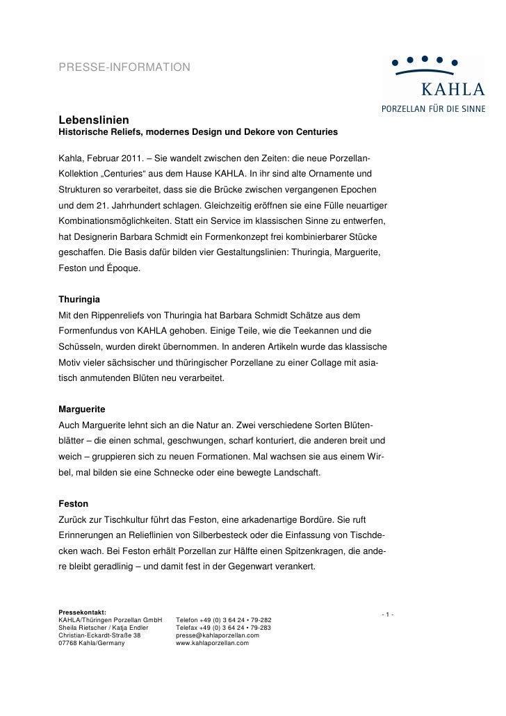 PRESSE-INFORMATIONLebenslinienHistorische Reliefs, modernes Design und Dekore von CenturiesKahla, Februar 2011. – Sie wand...