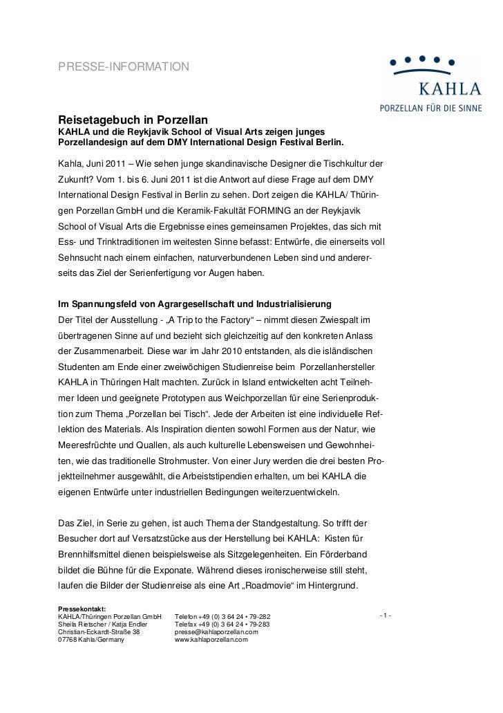 PRESSE-INFORMATIONReisetagebuch in PorzellanKAHLA und die Reykjavik School of Visual Arts zeigen jungesPorzellandesign auf...