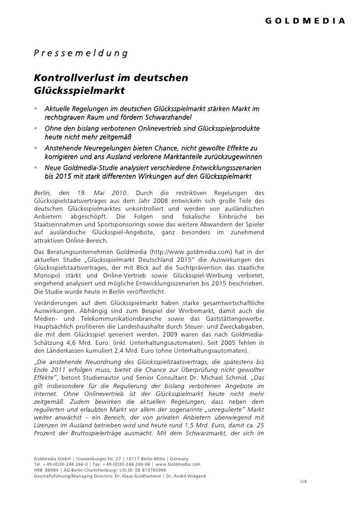 Pressemeldung  Kontrollverlust im deutschen Glücksspielmarkt     Aktuelle Regelungen im deutschen Glücksspielmarkt stärken...