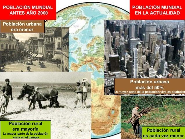 POBLACIÓN MUNDIAL ANTES AÑO 2000  POBLACIÓN MUNDIAL EN LA ACTUALIDAD  Población urbana era menor  Población urbana más del...