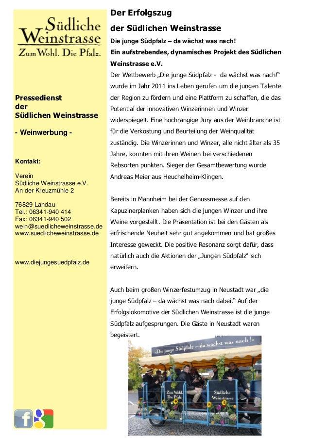 Der Erfolgszug                               der Südlichen Weinstrasse                               Die junge Südpfalz – ...
