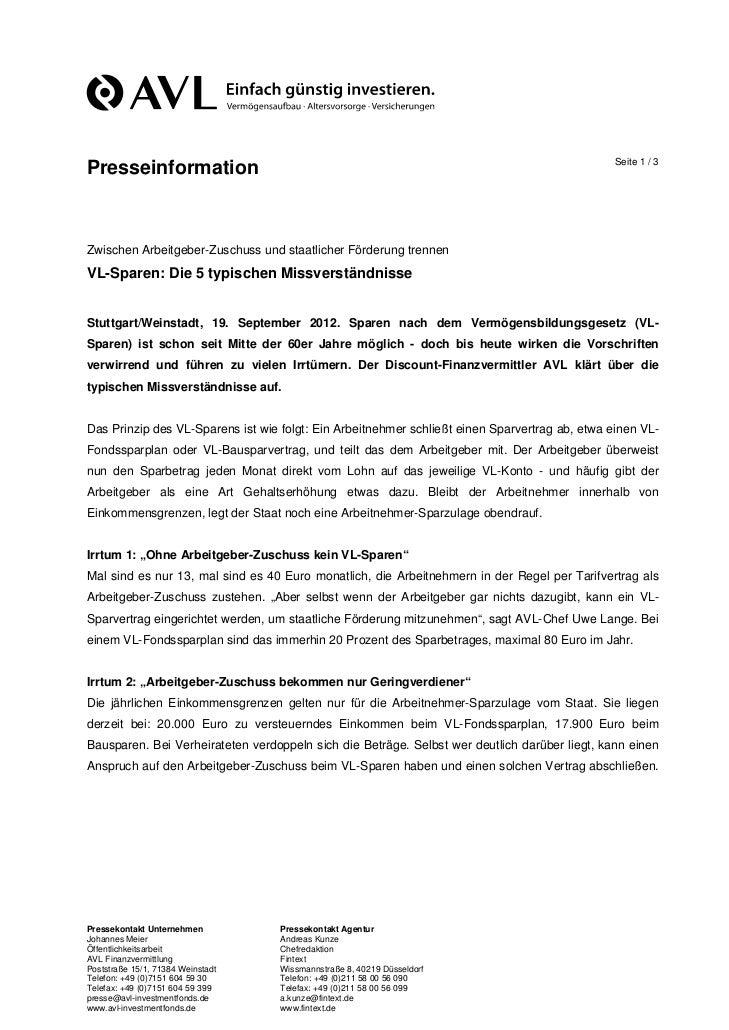 Seite 1 / 3PresseinformationZwischen Arbeitgeber-Zuschuss und staatlicher Förderung trennenVL-Sparen: Die 5 typischen Miss...