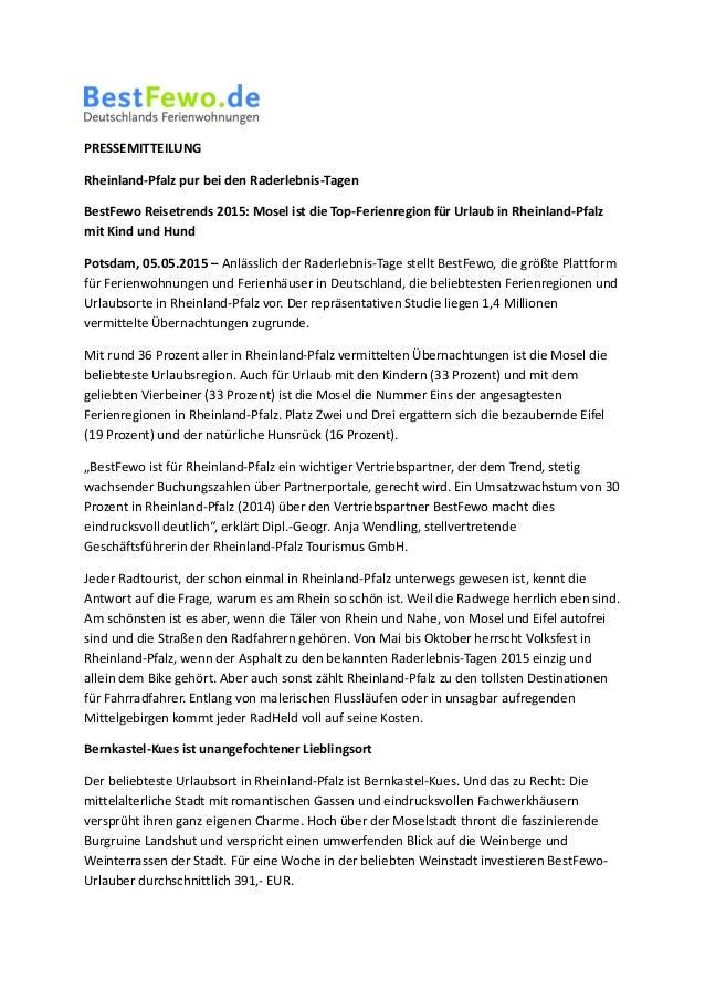 PRESSEMITTEILUNG Rheinland-Pfalz pur bei den Raderlebnis-Tagen BestFewo Reisetrends 2015: Mosel ist die Top-Ferienregion f...