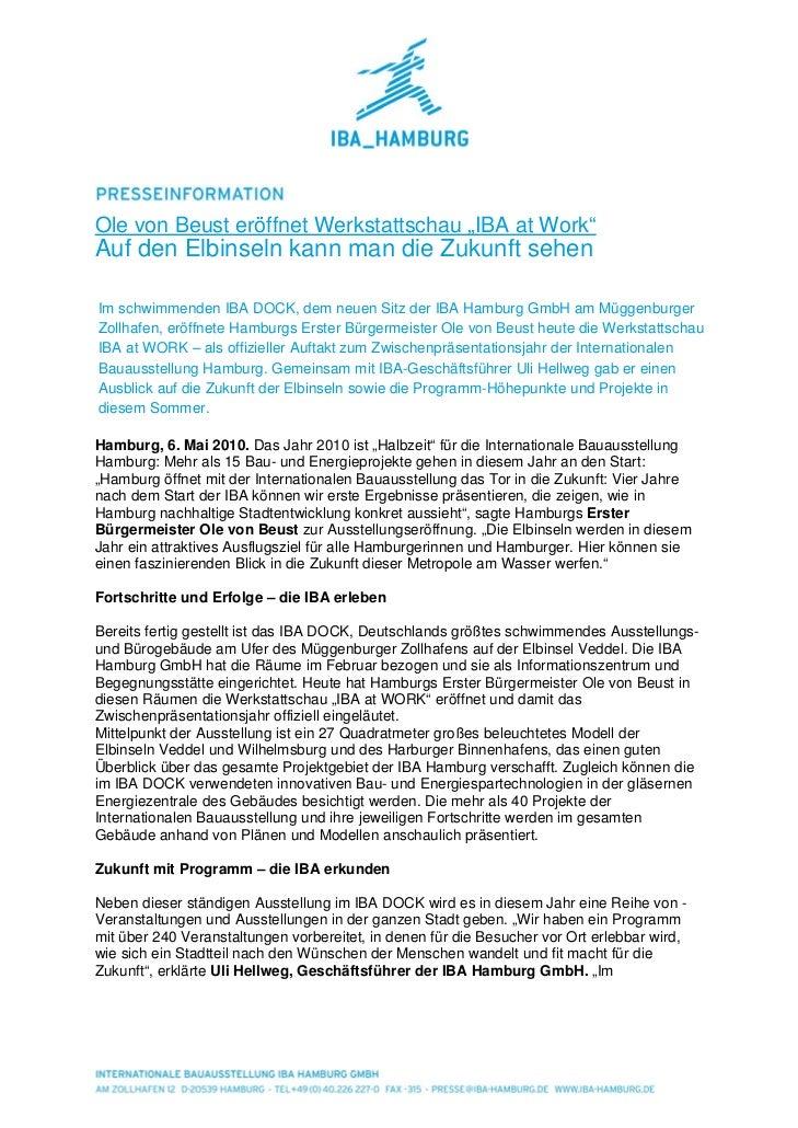 """Ole von Beust eröffnet Werkstattschau """"IBA at Work""""Auf den Elbinseln kann man die Zukunft sehenIm schwimmenden IBA DOCK, d..."""