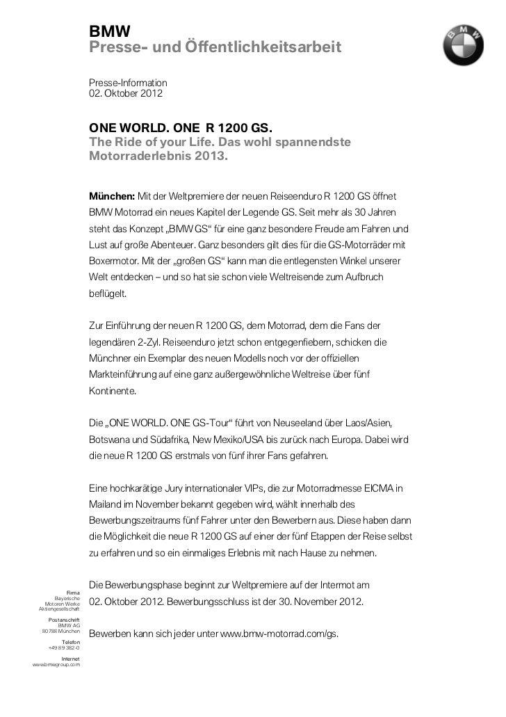BMW                       Presse- und Öffentlichkeitsarbeit                       Presse-Information                      ...