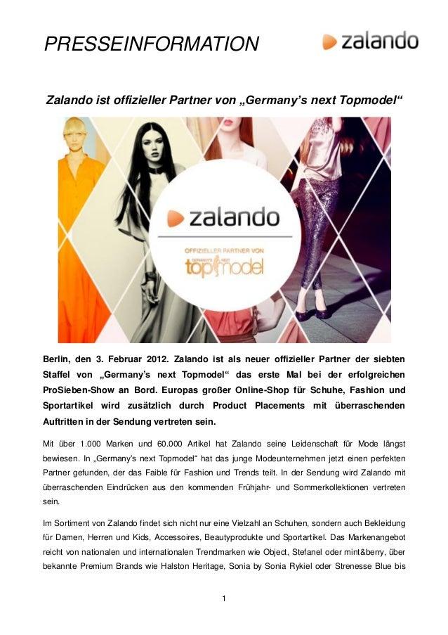 "PRESSEINFORMATIONZalando ist offizieller Partner von ""Germany's next Topmodel""Berlin, den 3. Februar 2012. Zalando ist als..."