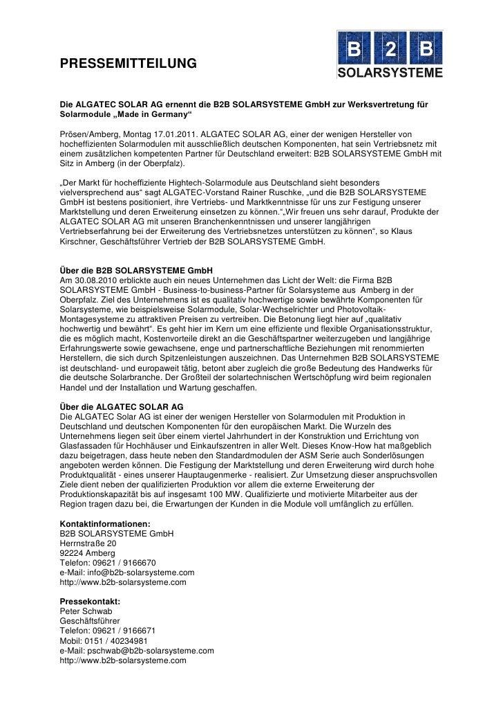 """PRESSEMITTEILUNGDie ALGATEC SOLAR AG ernennt die B2B SOLARSYSTEME GmbH zur Werksvertretung fürSolarmodule """"Made in Germany..."""