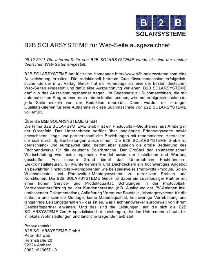B2B SOLARSYSTEME für Web-Seite ausgezeichnet