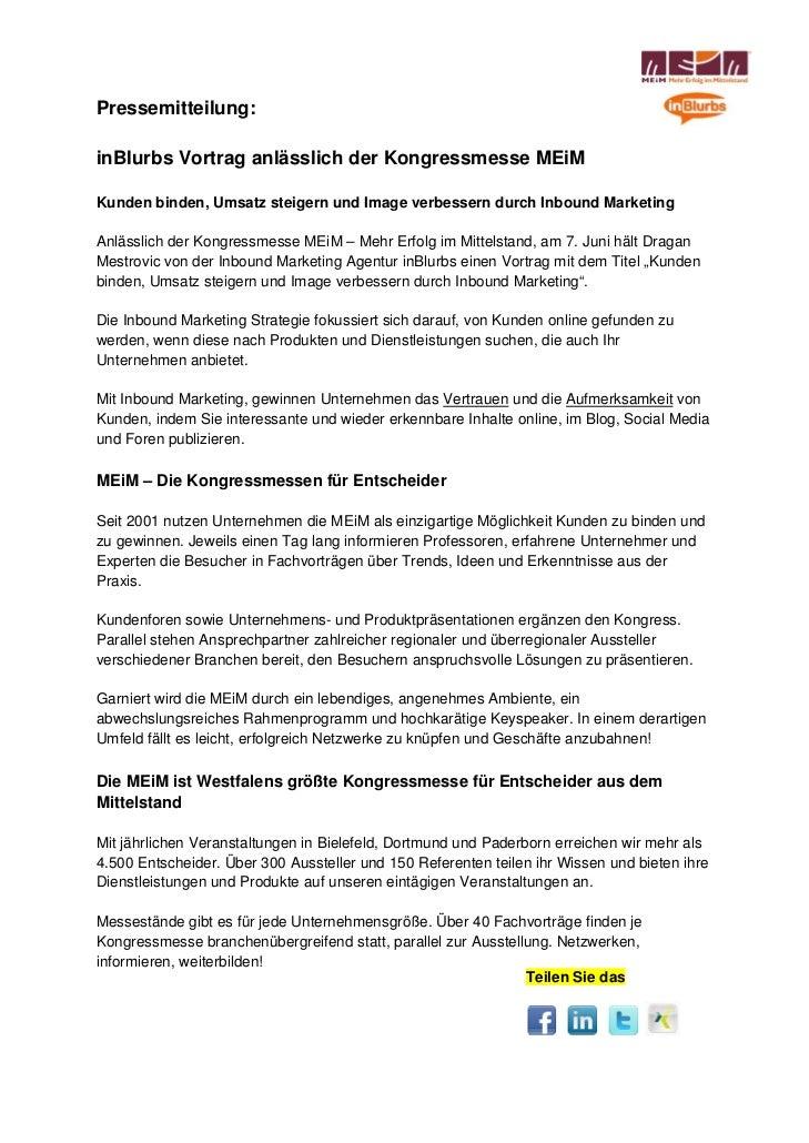 Pressemitteilung:inBlurbs Vortrag anlässlich der Kongressmesse MEiMKunden binden, Umsatz steigern und Image verbessern dur...