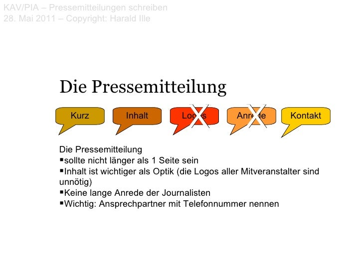 KAV/PIA – Pressemitteilungen schreiben28. Mai 2011 – Copyright: Harald Ille            Die Pressemitteilung               ...