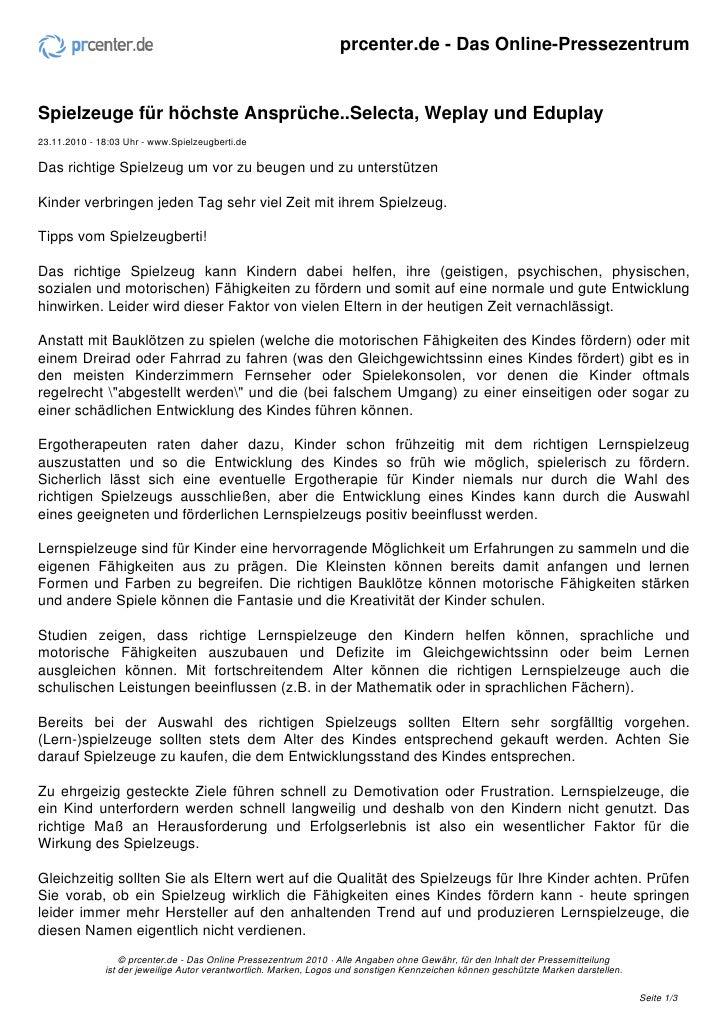 prcenter.de - Das Online-PressezentrumSpielzeuge für höchste Ansprüche..Selecta, Weplay und Eduplay23.11.2010 - 18:03 Uhr ...