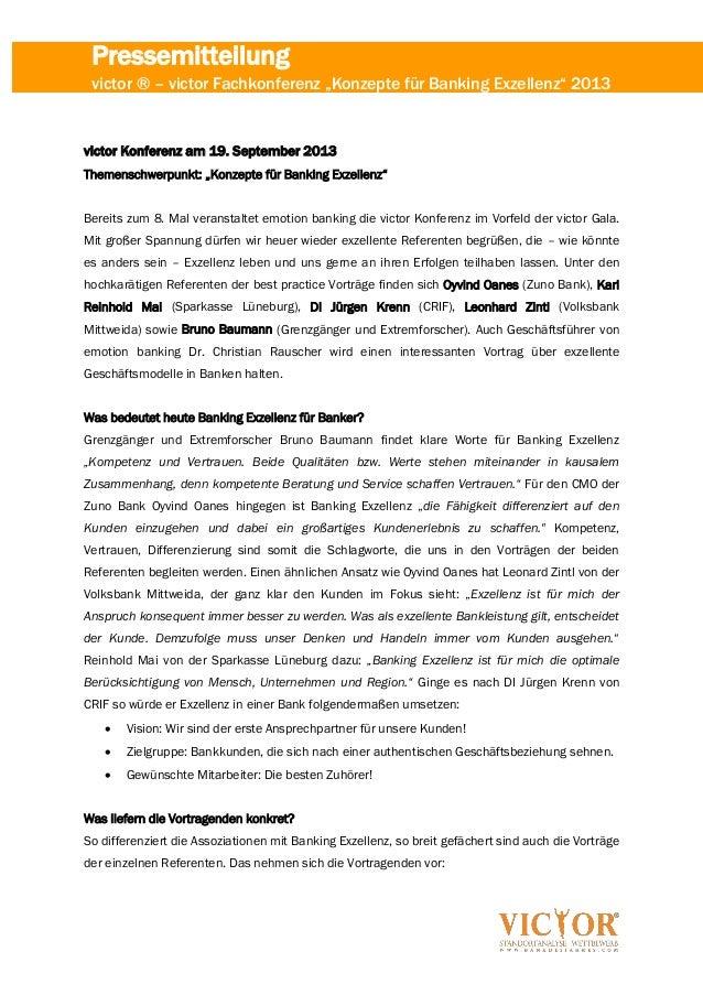 """Pressemitteilung victor ® – victor Fachkonferenz """"Konzepte für Banking Exzellenz"""" 2013 victor Konferenz am 19. September 2..."""