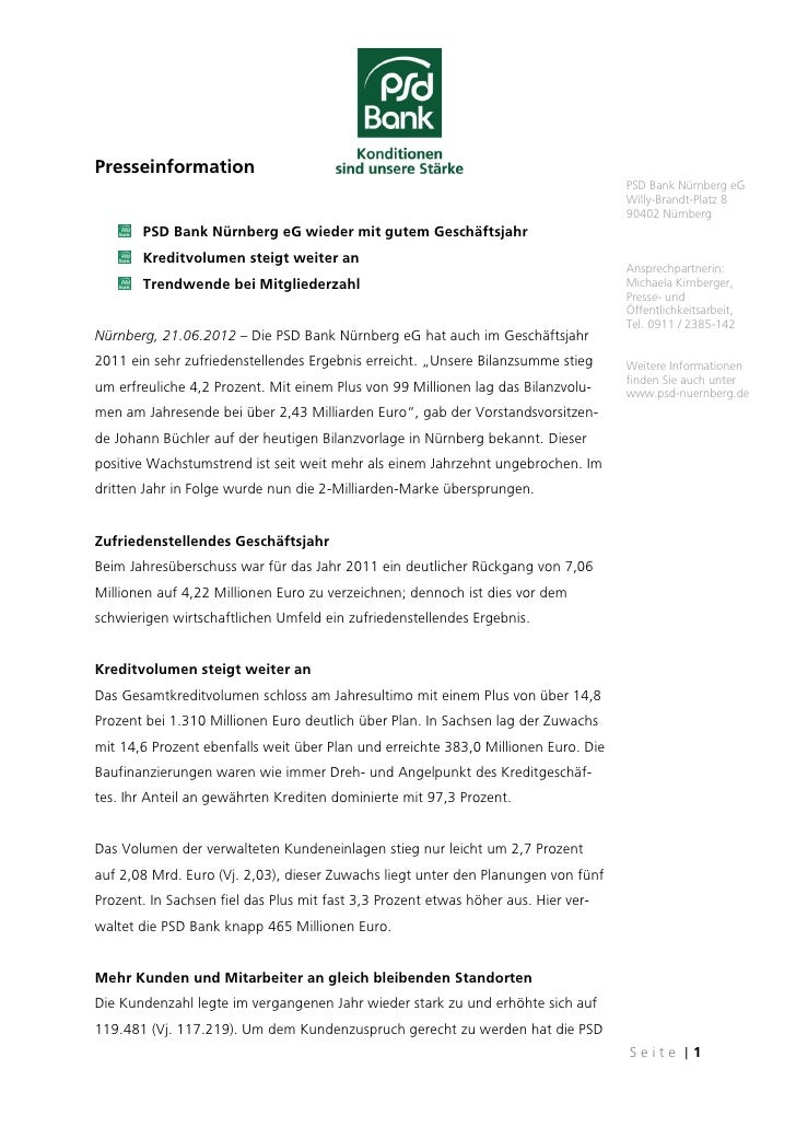 Presseinformation                                                                                    PSD Bank Nürnberg eG ...