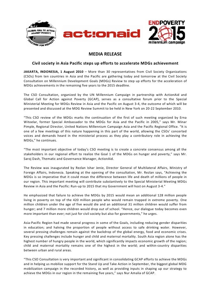 MEDIA RELEASE      Civil society in Asia Pacific steps up efforts to accelerate MDGs achievement JAKARTA, INDONESIA, 1 Aug...