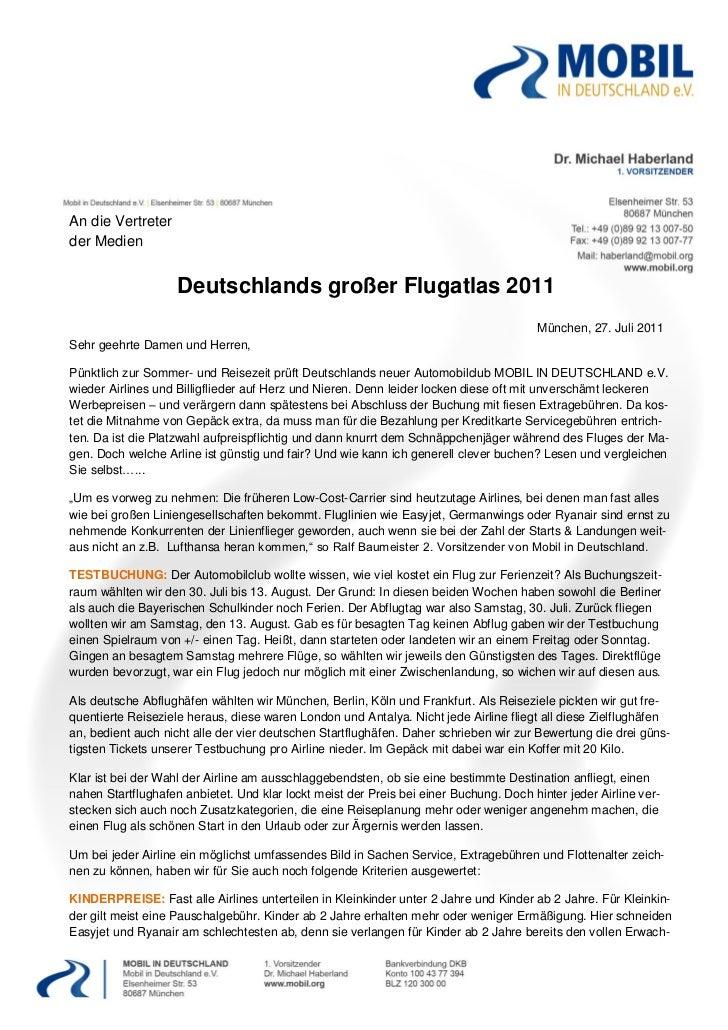 An die Vertreterder Medien                    Deutschlands großer Flugatlas 2011                                          ...