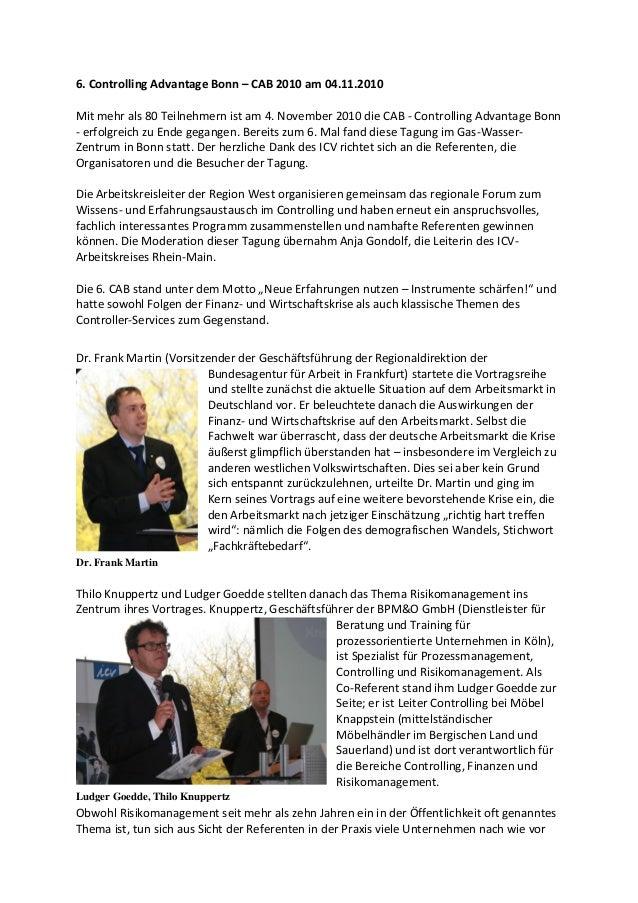 6. Controlling Advantage Bonn – CAB 2010 am 04.11.2010 Mit mehr als 80 Teilnehmern ist am 4. November 2010 die CAB - Contr...