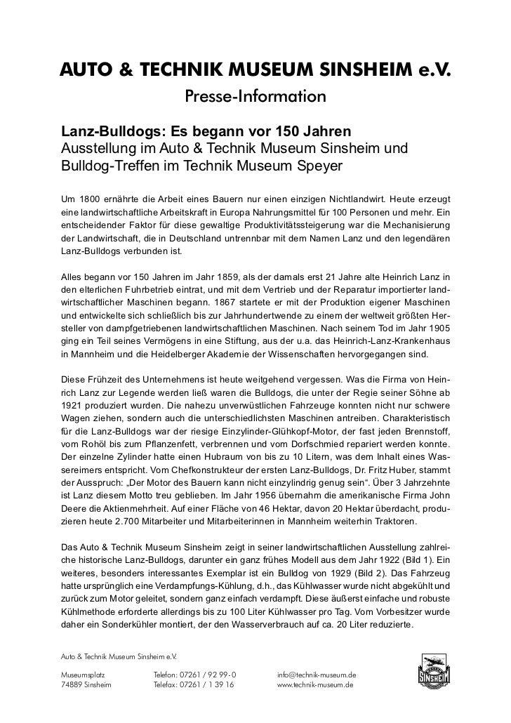 AUTO & TECHNIK MUSEUM SINSHEIM e.V.                                      Presse-InformationLanz-Bulldogs: Es begann vor 15...
