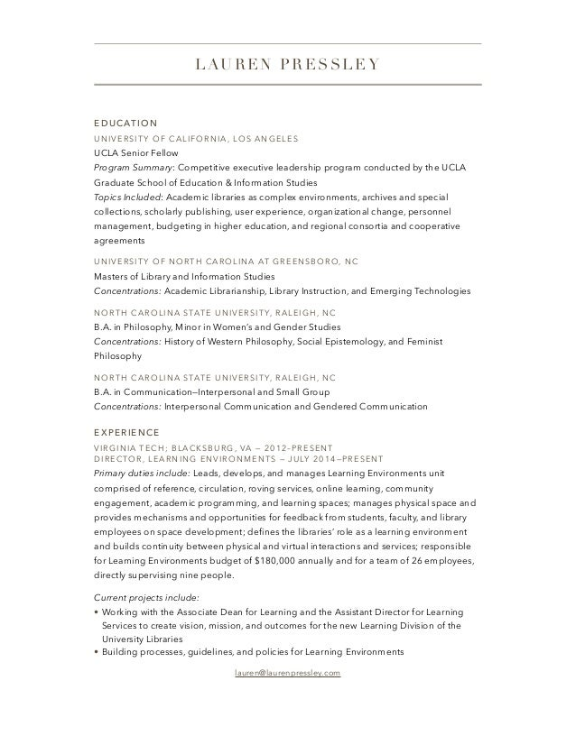 EDUCATION UNIVERSITY OF CALIFORNIA, LOS ANGELES UCLA Senior Fellow Program Summary: Competitive executive leadership progr...