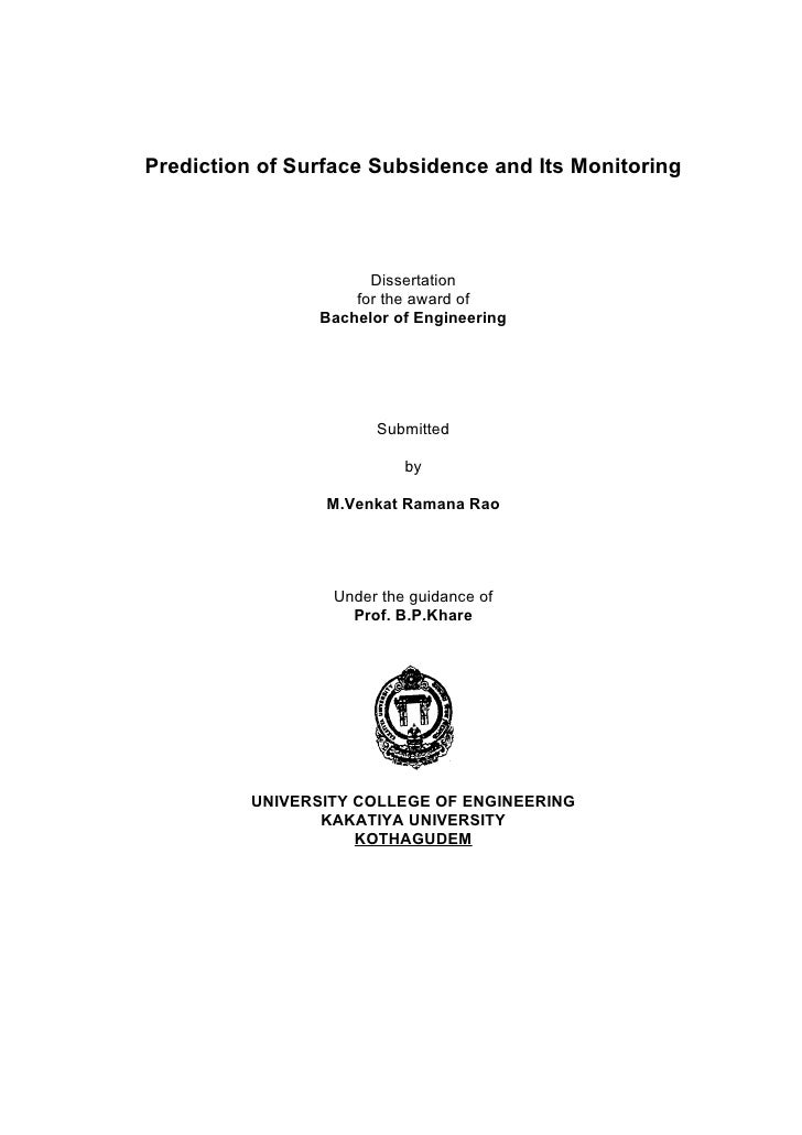 Prediction of Surface Subsidence and Its Monitoring                           Dissertation                     for the awa...