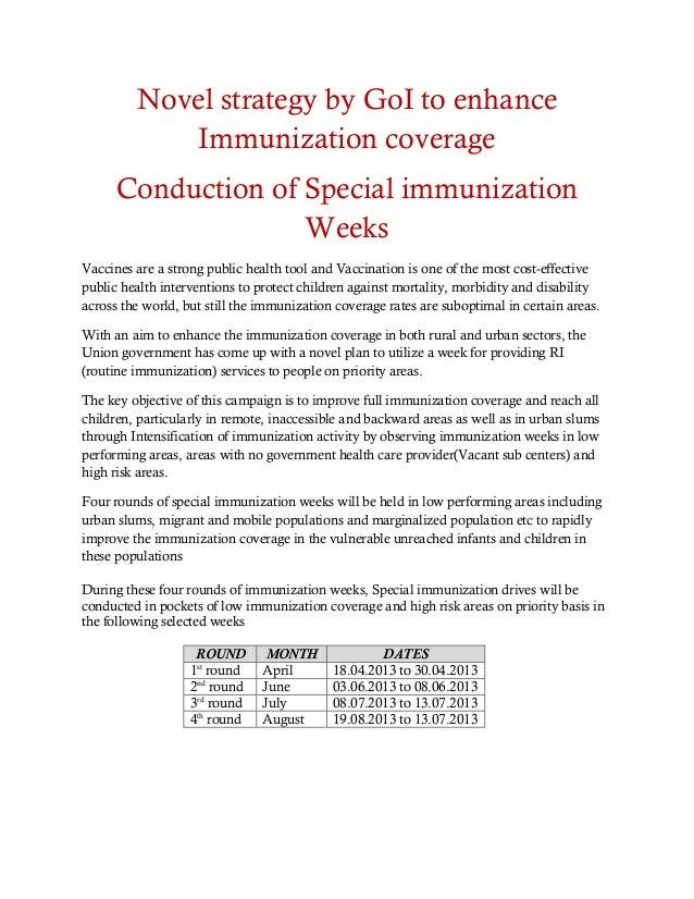 Pressnote for special immunization weeks