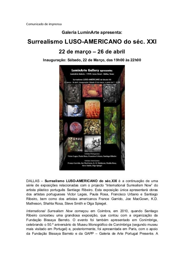 Press português - Galeria LuminArte apresenta: Surrealismo LUSO-AMERICANO do séc. XXI