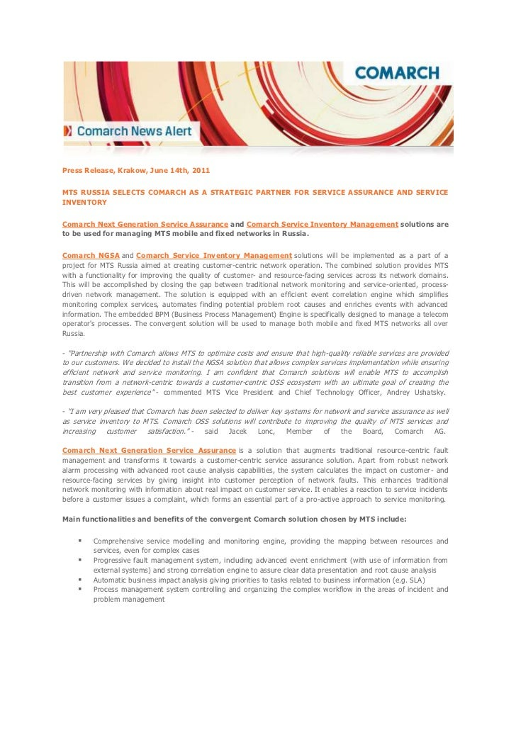 [Press Release] MTS Russia selects Comarch as a strategic partner for service assurance and service inventory
