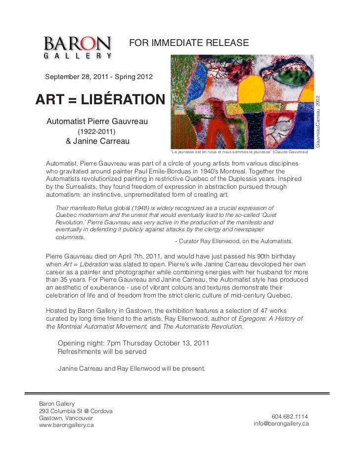 FOR IMMEDIATE RELEASE  September 28, 2011 - Spring 2012ART = LIBÉRATION                                                   ...