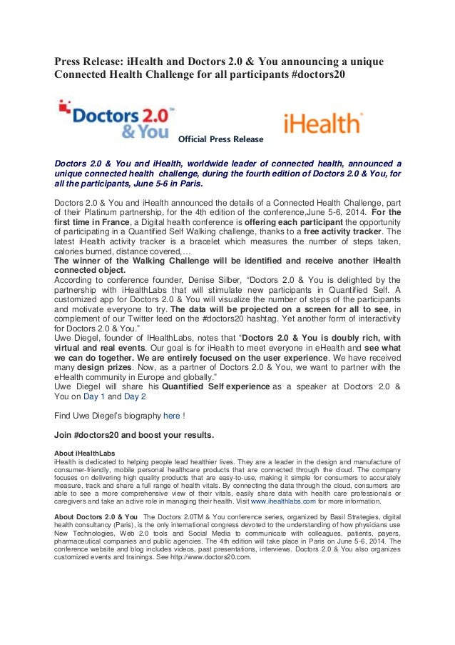 Press Release: iHealth and Doctors 2.0 & You announcing a unique Connected Health Challenge for all participants #doctors20