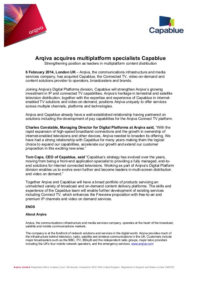 Arqiva acquires multiplatform specialists Capablue Strengthening position as leaders in multiplatform content distribution...