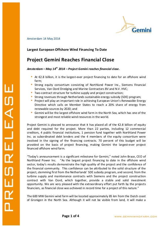 Pressrelease about Financial Close Gemini