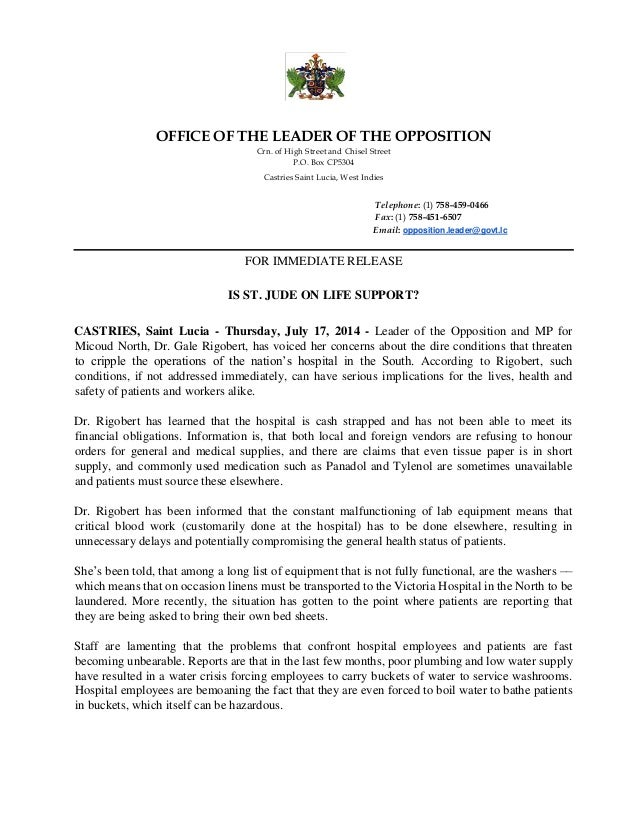OFFICE OF THE LEADER OF THE OPPOSITION Crn. of High Street and Chisel Street P.O. Box CP5304 Castries Saint Lucia, West In...