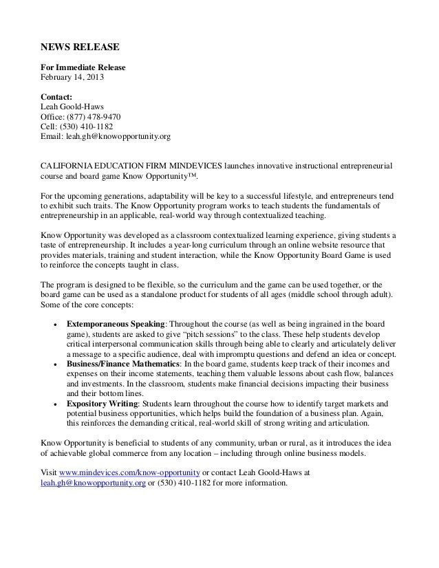 Press Release - Know Opportunity(tm)