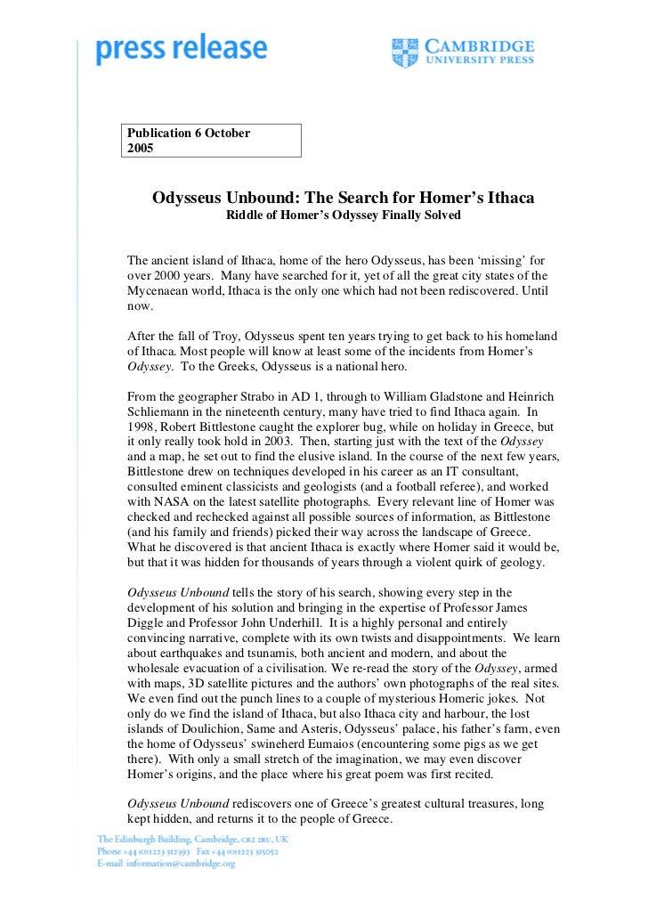 Press release. odysseus unbound